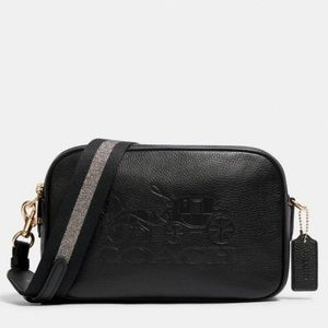 Coach Jes Crossbody Double Zip Leather Bag  Black